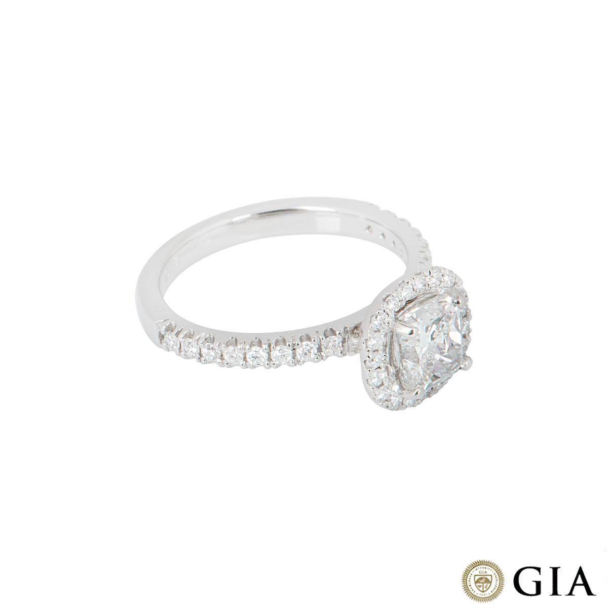 Platinum Cushion Cut Diamond Ring 1.00ct H/VS1